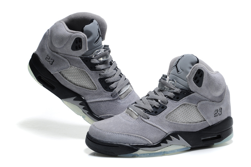 Cheap Air Jordan Shoes 5 Suede Grey Black Shoes