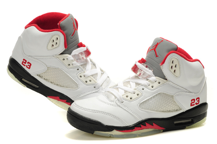 Cheap Air Jordan 5 Shoes White Black Red For Women