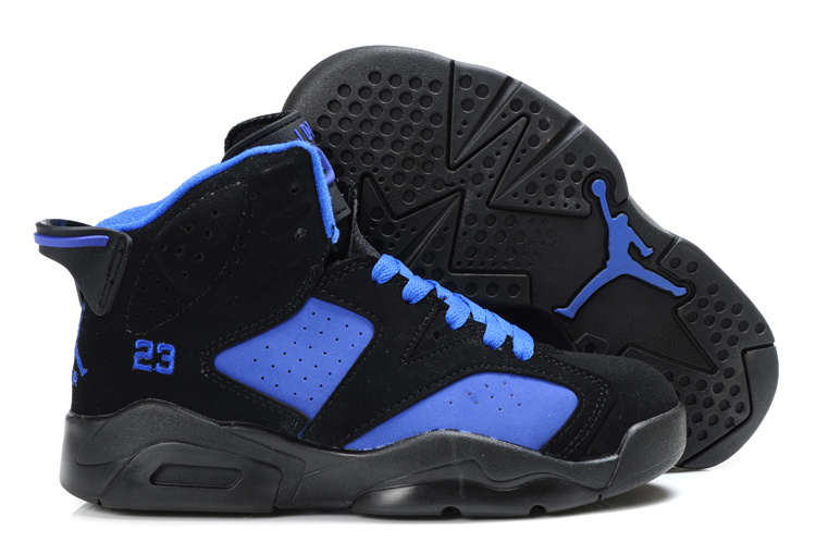 Cheap Air Jordan Shoes 6 Black Blue For Kids - Click Image to Close