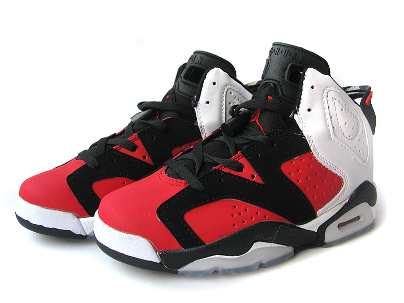 Cheap Air Jordan 6 Shoes Black Red White For Women