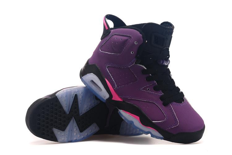 Cheap 2015 Air Jordan 6 Grape Black Shoes For Women