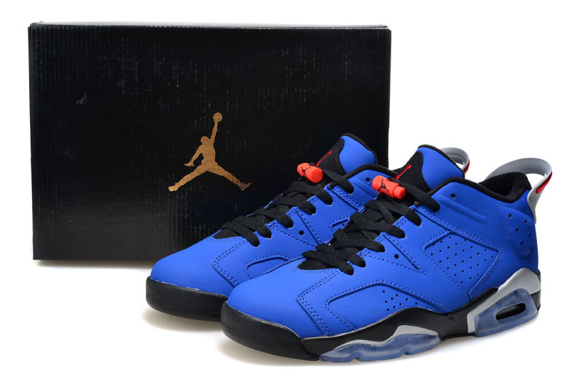 Cheap 2015 Air Jordan 6 Low Cut Blue Black Shoes For Women