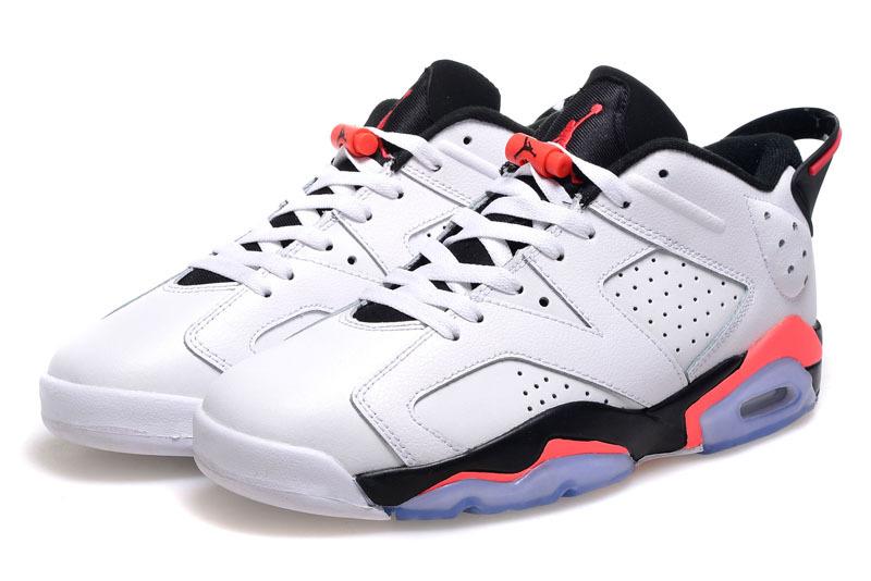 Cheap 2015 Air Jordan 6 Low Cut White Black Pink Shoes For Women