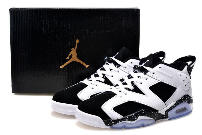 Cheap 2015 Air Jordan 6 Low Cut White Black Shoes For Women