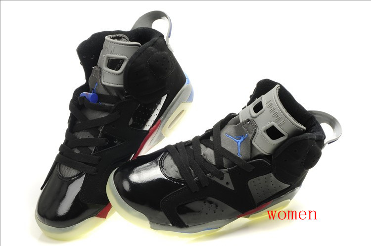 Cheap Air Jordan 6 Shoes Midnight Black Grey Red For Women