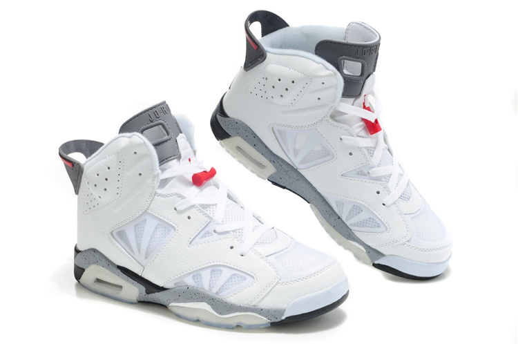 Cheap Air Jordan Shoes 6 Net Vamp White Grey