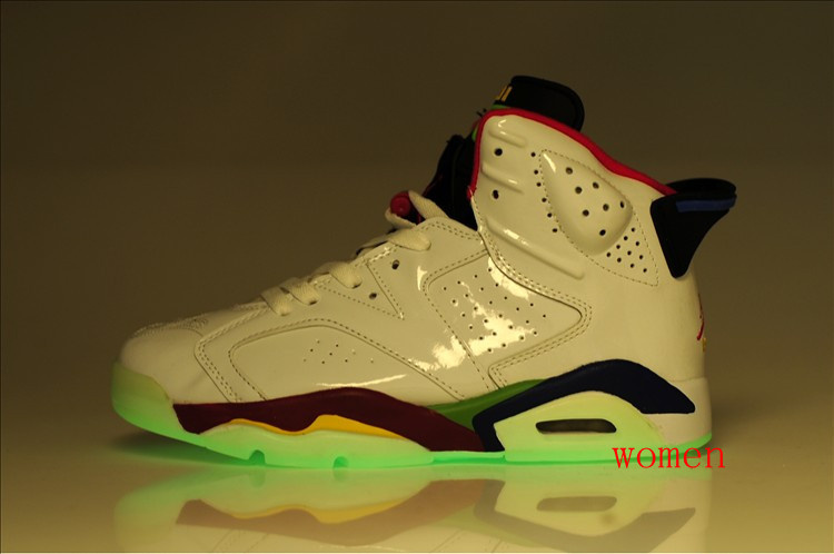 Cheap Air Jordan 6 Shoes Olympic Midnight White Red Green For Women