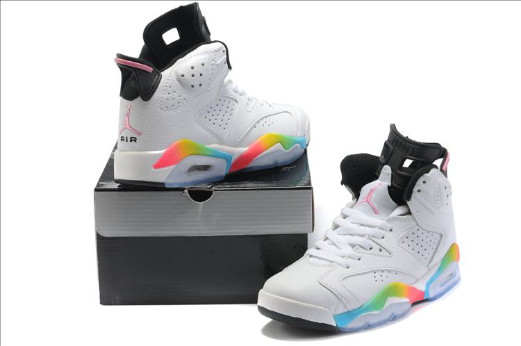 Cheap Air Jordan 6 Shoes White Colorful Black For Women