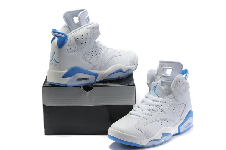 Cheap Air Jordan 6 Shoes White Light Blue For Women