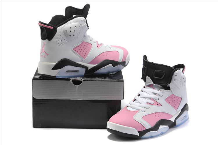 Cheap Air Jordan 6 Shoes White Pink Black For Women