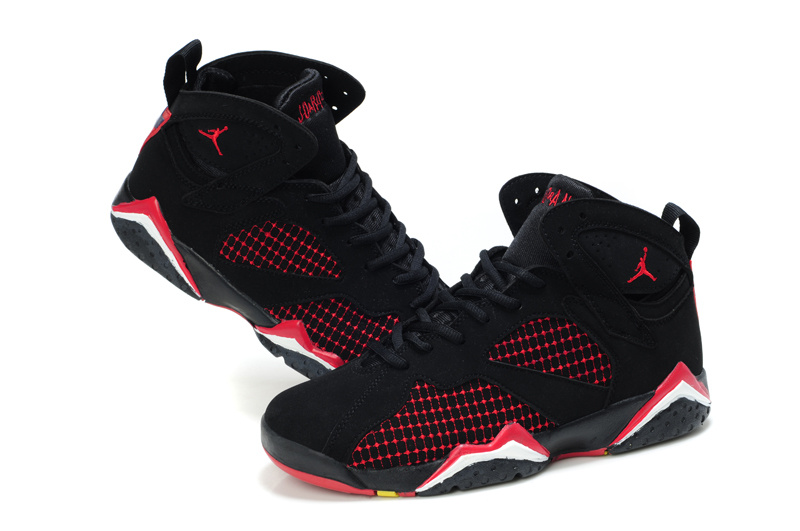 Cheap Air Jordan Shoes 7 Embroided Black Red For Women