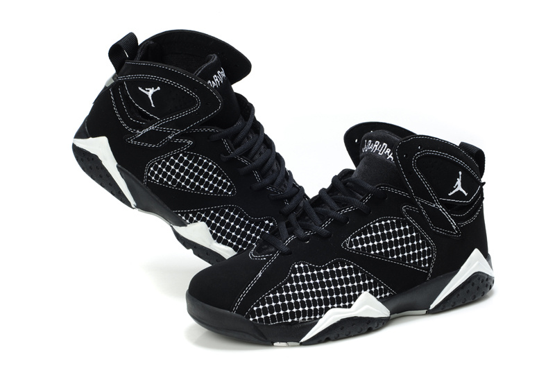 Cheap Air Jordan Shoes 7 Embroided Black White For Women