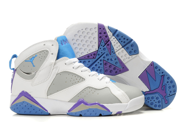 Cheap Air Jordan 7 Shoes White Grey Light Blue Purple For Women