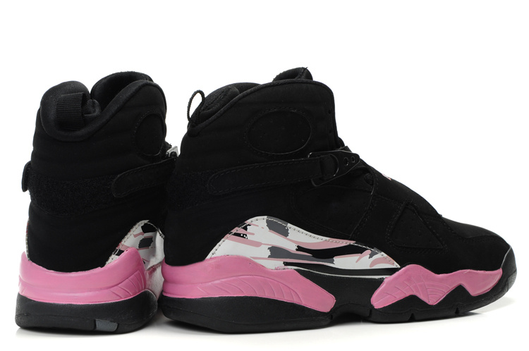 Cheap Air Jordan 8 Shoes Black Pink White For Women