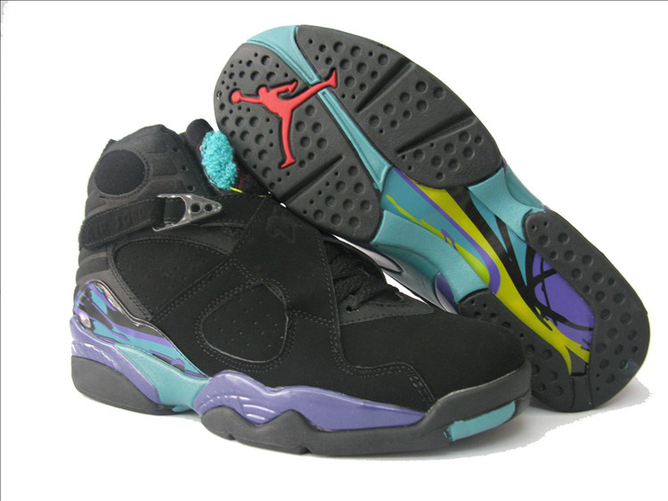 Cheap Air Jordan 8 Shoes Black Purple For Women