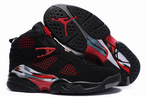 Cheap Air Jordan 8 Shoes Embroider Black Red
