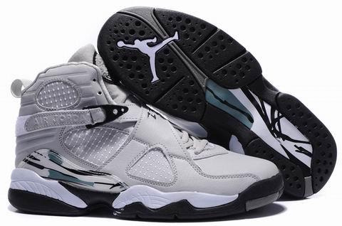 Cheap Air Jordan 8 Shoes Embroider Grey Black