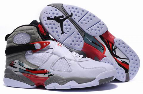 Cheap Air Jordan 8 Shoes Embroider White Grey Red
