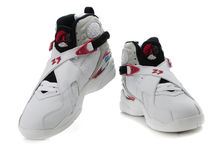 Cheap Air Jordan Shoes 8 White Red For Kids
