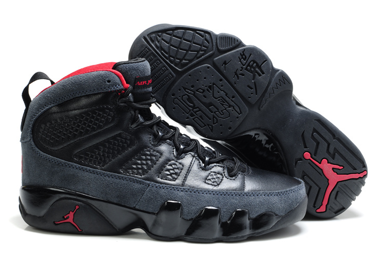 Cheap Air Jordan Shoes 9 Suede Black Red