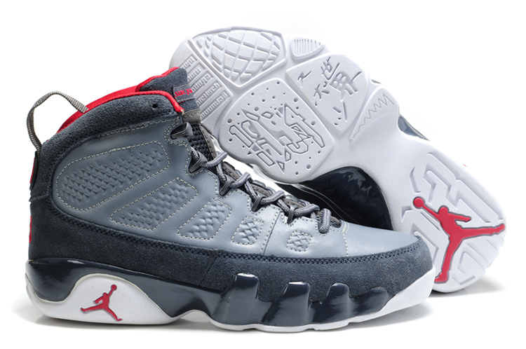 Cheap Air Jordan Shoes 9 Suede Grey White Red