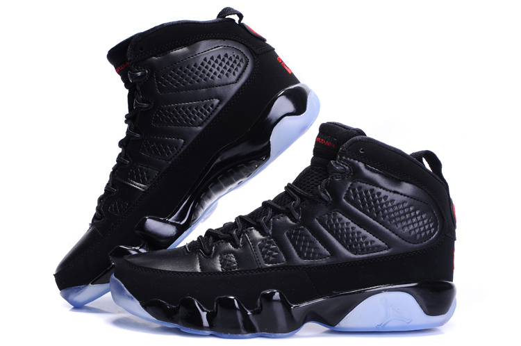 Cheap Air Jordan Shoes 9 Transparent Sole All Black