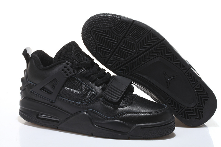 Real All Black Jordan 4 Shoes With Strap