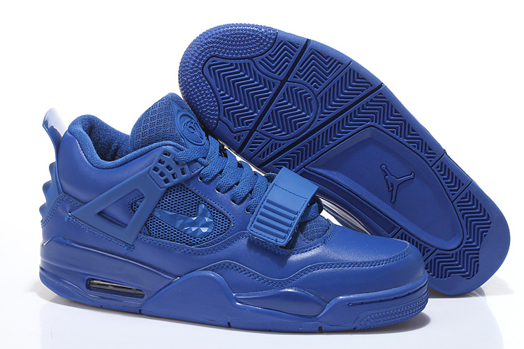 Real All Blue Jordan 4 Shoes With Strap
