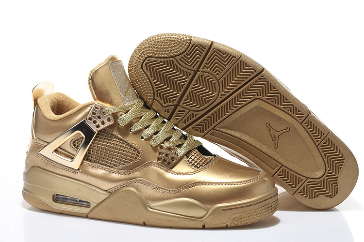 Real All Gold Jordan 4 Shoes With Strap