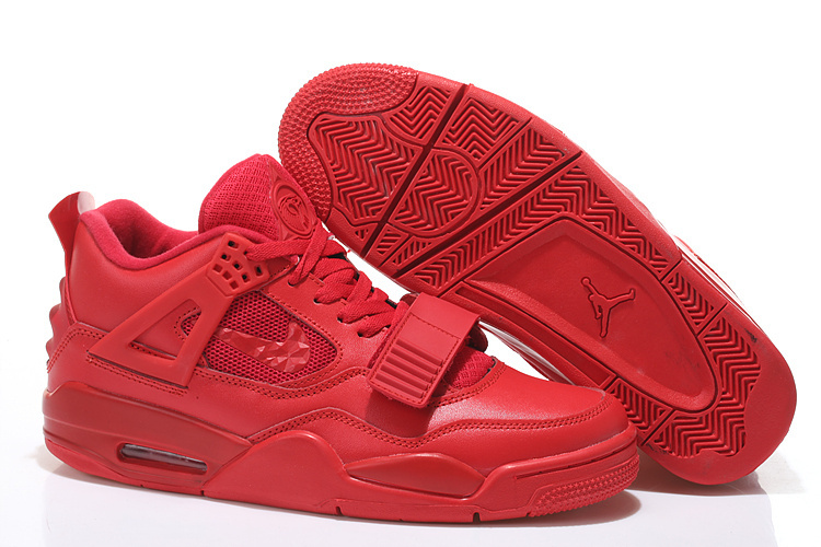 Real All Red Jordan 4 Shoes With Strap