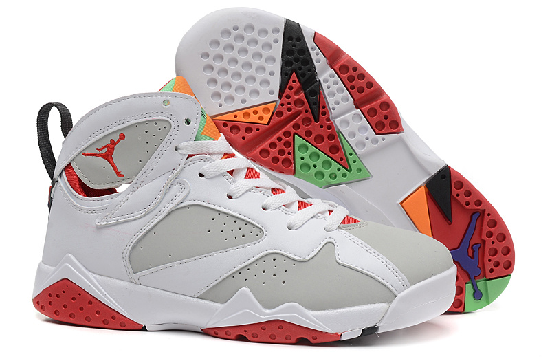 Cheap 2015 Bugs Bunny Air Jordan 7 White Grey Red For Women
