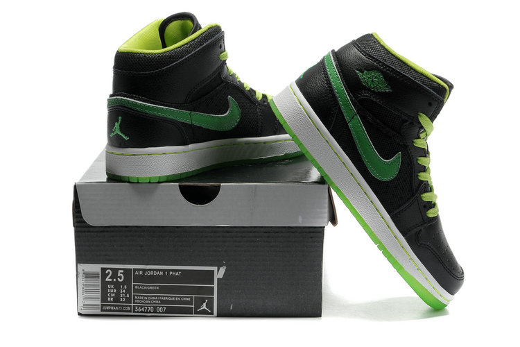 Cheap Air Jordan 1 Shoes Transparent Durable Sole Black Green