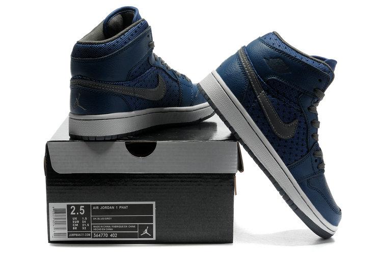 Cheap Air Jordan 1 Shoes Transparent Durable Sole Deep Blue Grey