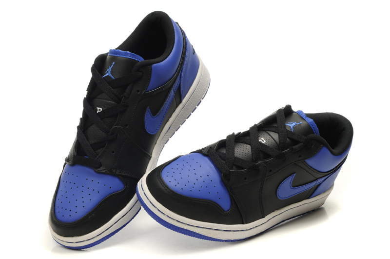 New Air Jordan Shoes 1 Low Black White Blue