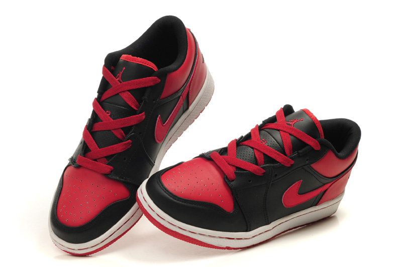 New Air Jordan Shoes 1 Low Black White Red