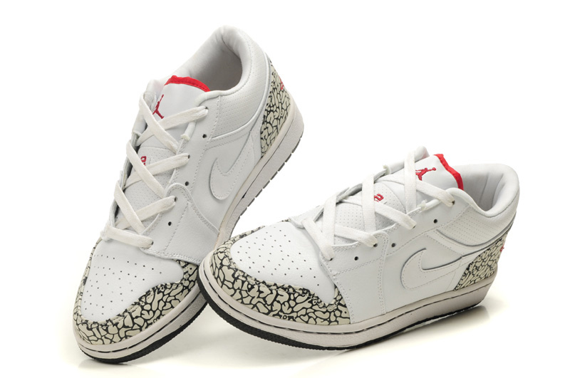 New Air Jordan Shoes 1 Low White Cement Black