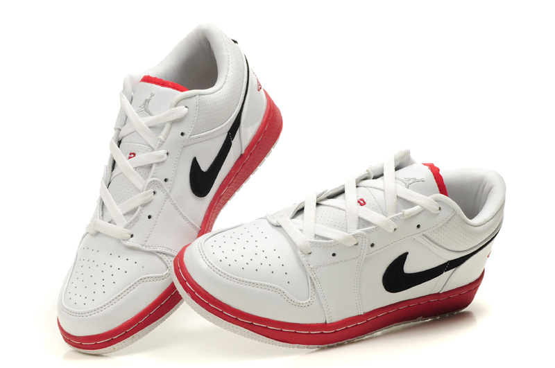 New Air Jordan Shoes 1 Low White Red Black