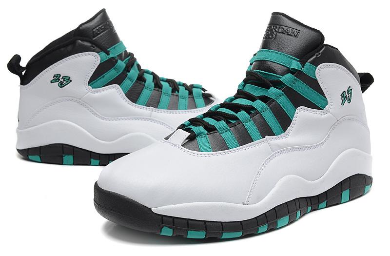 Real Jordan 10 Retro White Green Black Shoes