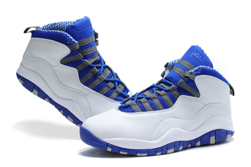 New Cheap Air Jordan Shoes 10 White Blue