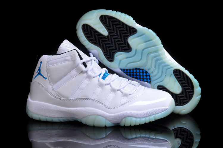 Cheap Real 2015 Jordan Jordan 11 All White Blue Jumpman
