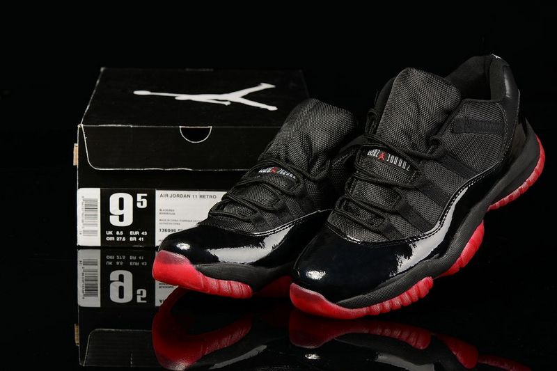 Cheap Real 2015 Jordan Jordan 11 Low Black Red
