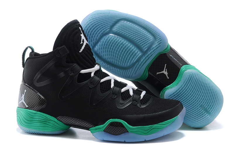 Real Jordan 28 Black Green Shoes