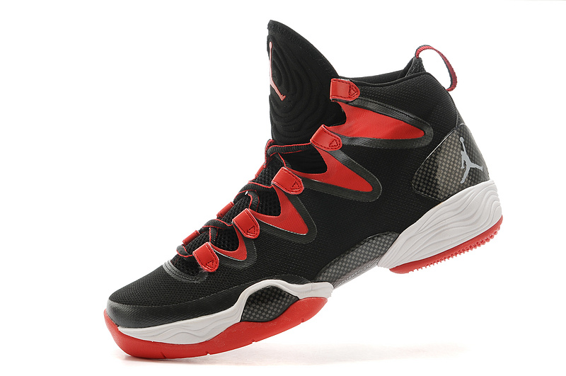 Real Jordan 28 Black Red White Shoes