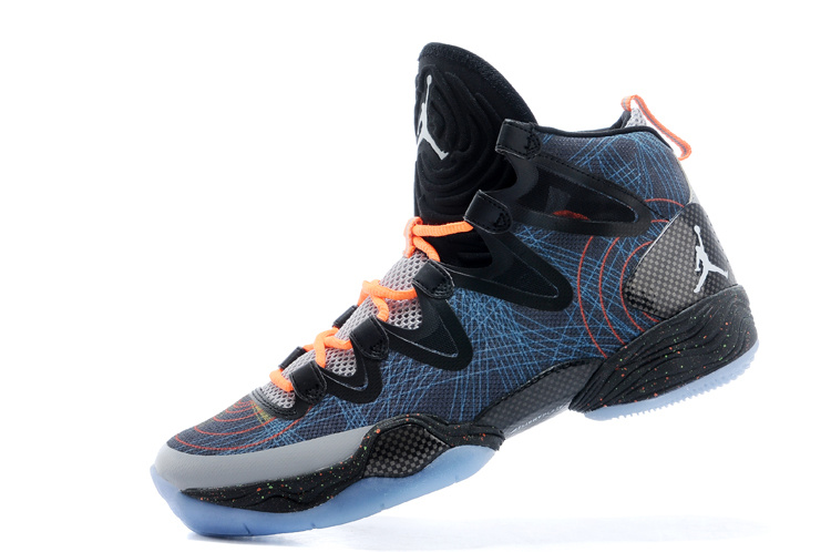 Real Jordan 28 Blue Black Orange Shoes