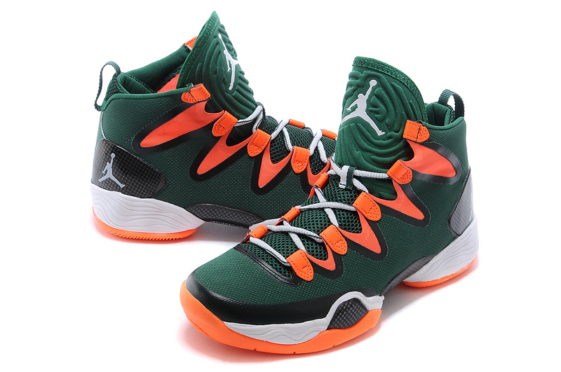 Real Jordan 28 Green Orange White Shoes