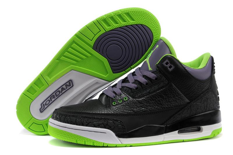 Real Jordan 3 Retro Black Purple Green Shoes