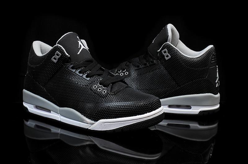 Real Jordan 3 Retro PVC Black Grey White Shoes