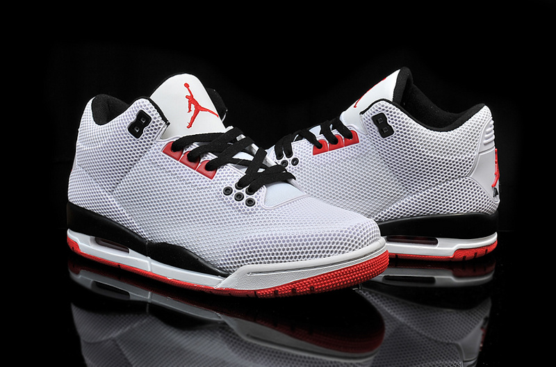 Real Jordan 3 Retro PVC Grey Black Red Shoes