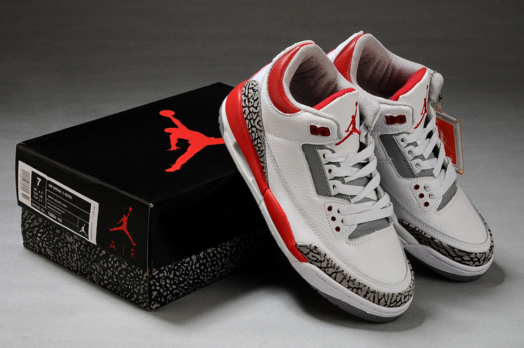 New Air Jordan Shoes 3 White Grey Red Shoes