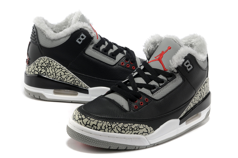New Air Jordan Retro 3 Wool Black Grey Cement